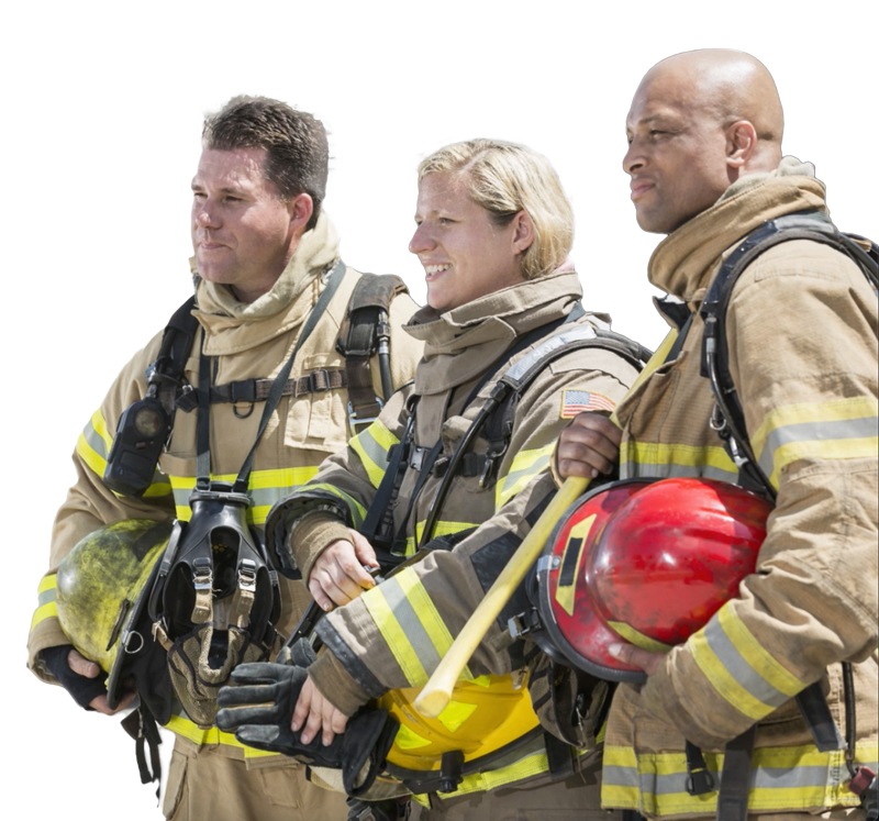 team of 3 firefighters standing with helmets in hand