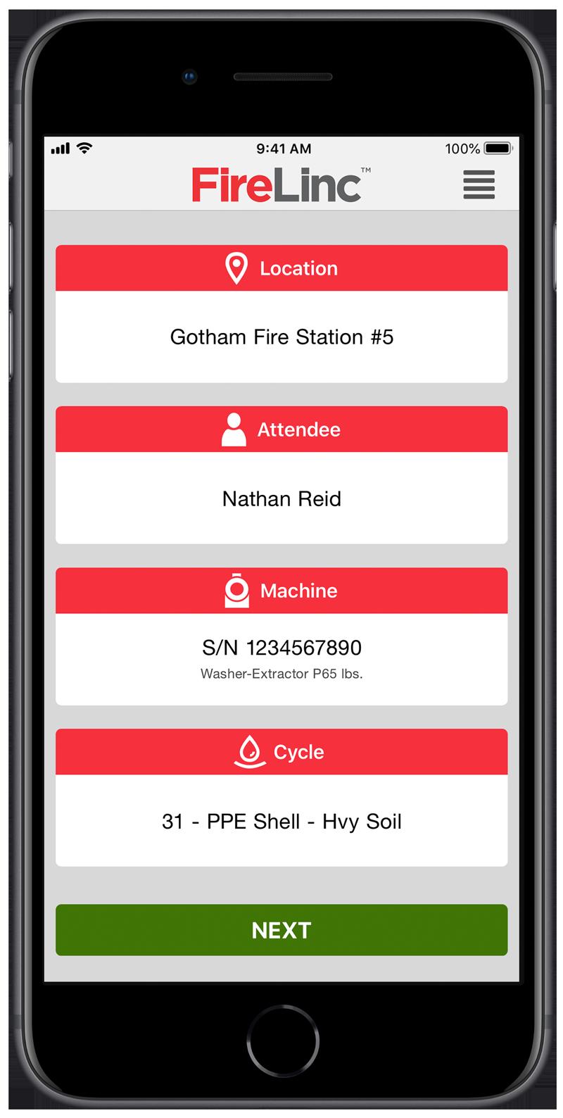 firelinc app displayed on phone